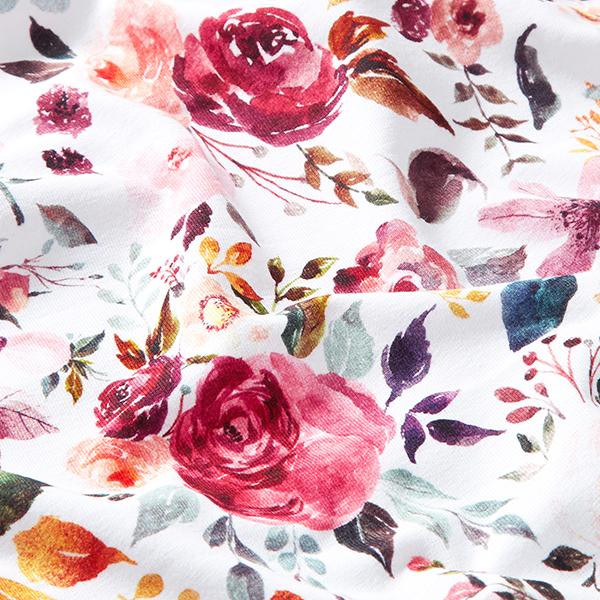 Baumwolljersey gemalte Blumen GOTS – weiss | by Poppy