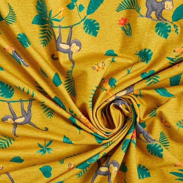 Jersey coton GOTS Singe dans la jungle | by Poppy – moutarde