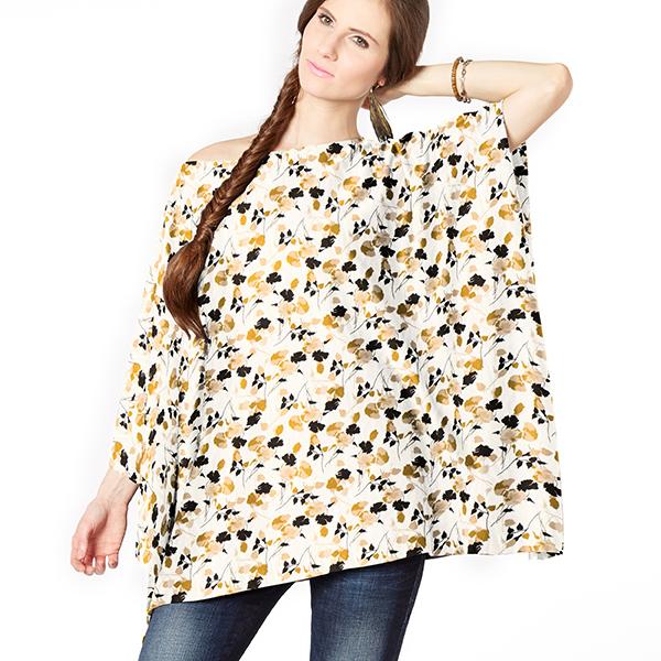 Tissu pour robe et chemise fleurs d'ombre – blanc