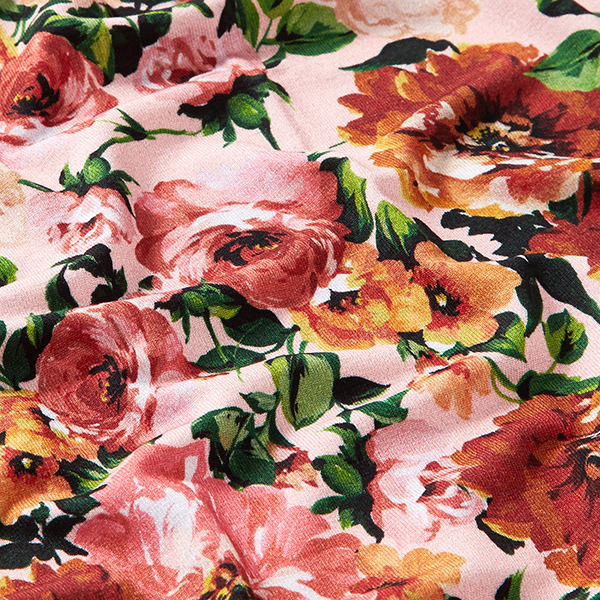 Jersey viscose roses sauvages – vieux rose