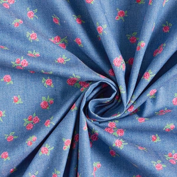 Chambray Petites roses – bleu jean/rose vif