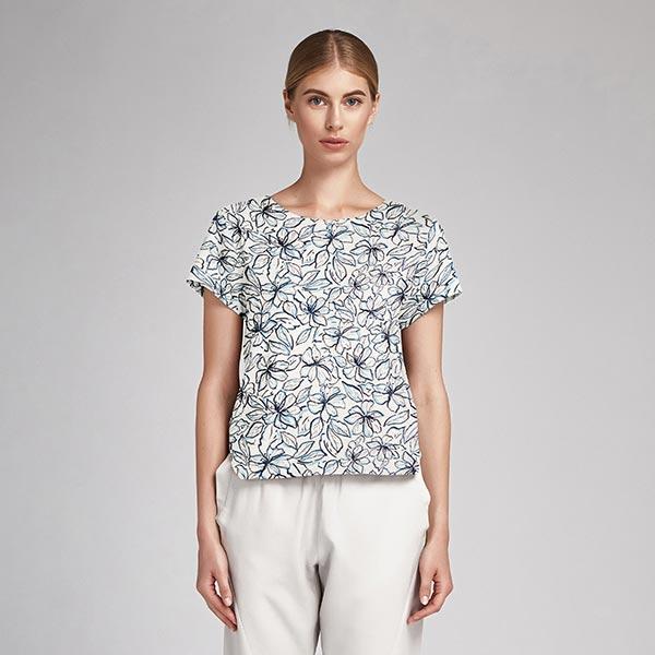 Tissu pour chemisier Mélange viscose lin Fleurs d'hibiscus – blanc/bleu clair