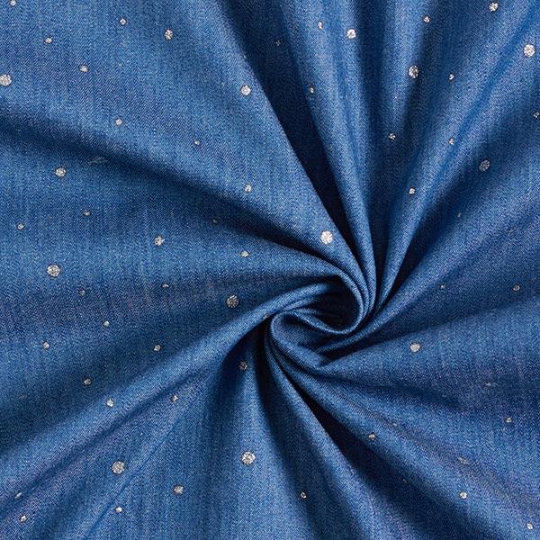 Chambray Points scintillants – bleu jean/argent
