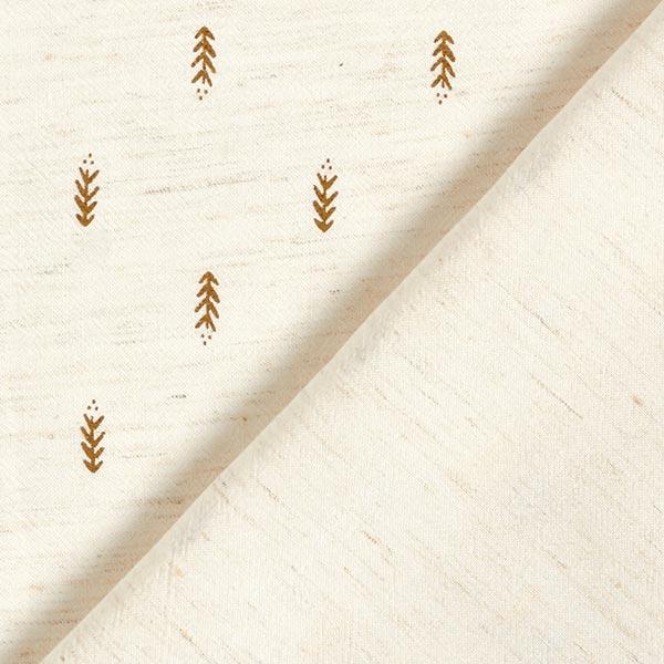 Tissu pour chemisier mélange viscose imprimé feuille branches dorées – nature/or