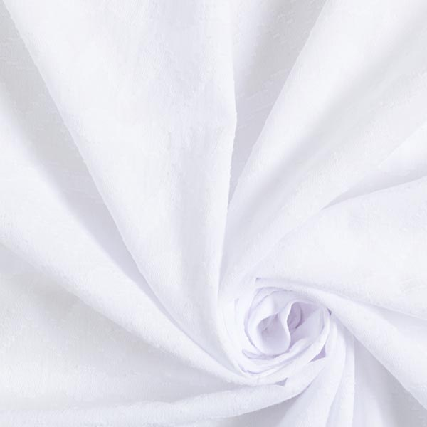 Tissu en coton dobby froissé zigzag – blanc