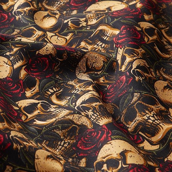 Popeline coton Têtes de mort et roses | by Poppy – noir/marron clair