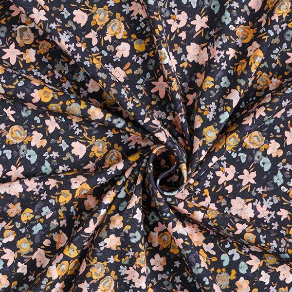 Baumwolljersey Aquarell Mille Fleurs GOTS – marineblau