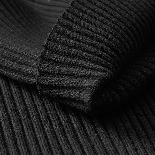 Maille côtelée grossière tubulaire – noir