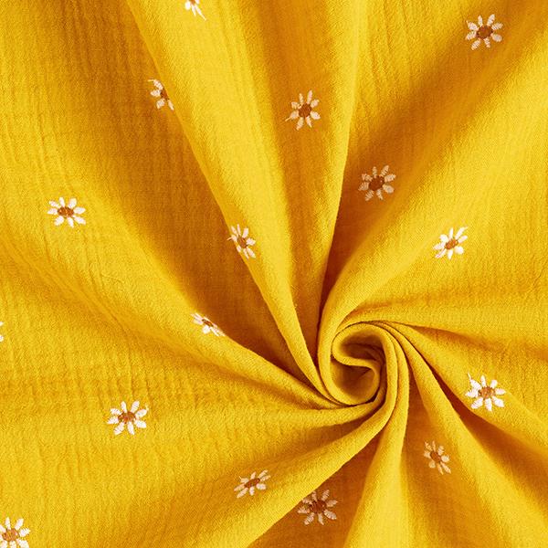 Tissu double gaze de coton Marguerites brodées – curry/blanc