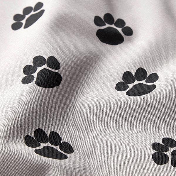 Dekostoff Canvas Hundepfoten – hellgrau/schwarz