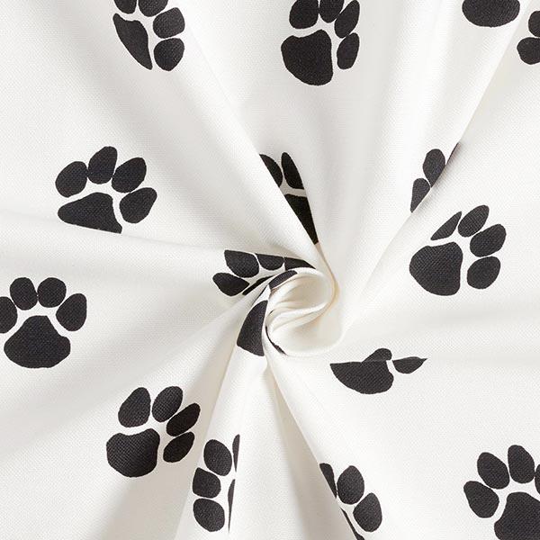 Dekostoff Canvas Hundepfoten – weiss/schwarz