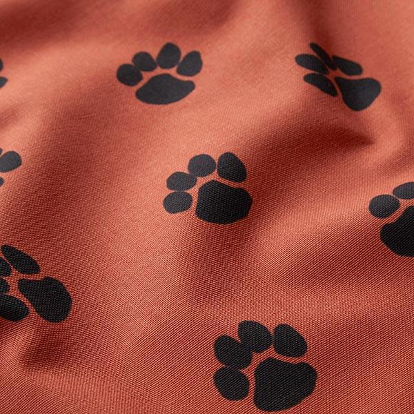 Dekostoff Canvas Hundepfoten – terracotta/schwarz