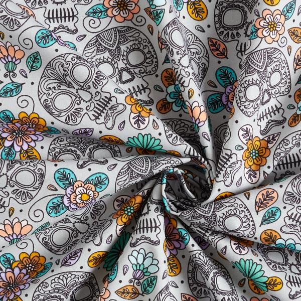 Popeline coton Día de Muertos   by Poppy – gris clair