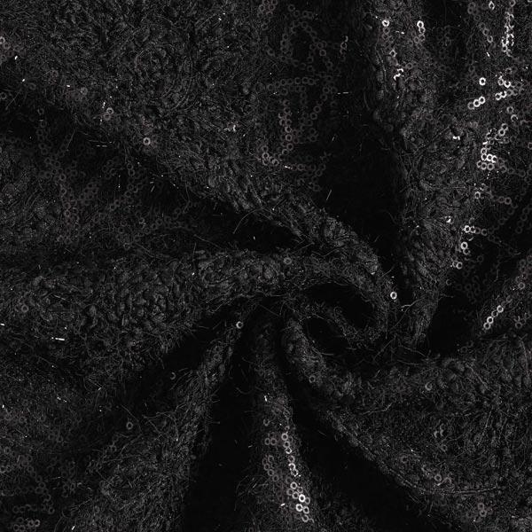 Tissu maille Maille à paillettes ornements floraux luxueux – noir
