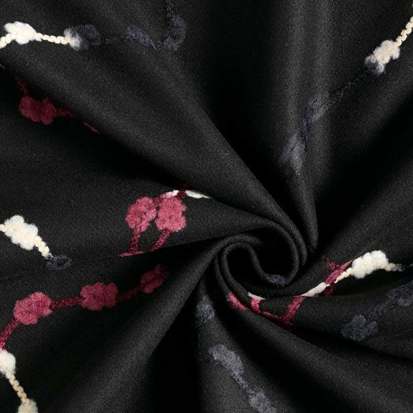 Tissu pour manteau Motif de vrille feutrée – noir/rouge bordeaux
