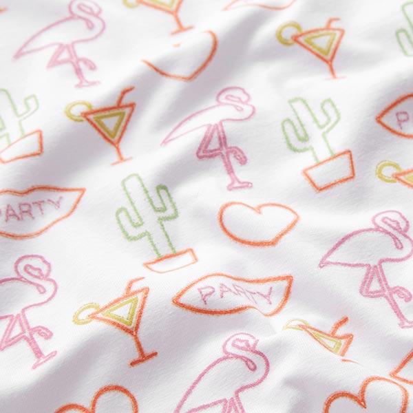 Jersey coton Glow-in-the-dark Flamingo Article de second choix – blanc