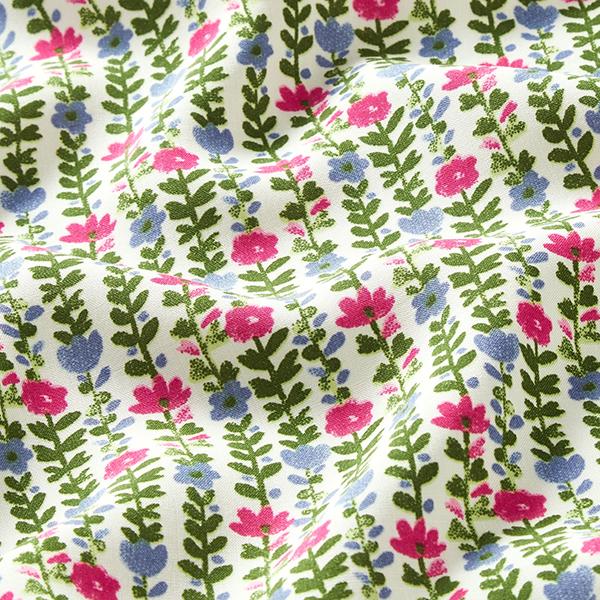 Tissu fin en viscose Rinceaux de fleurs – rose vif/bleu clair