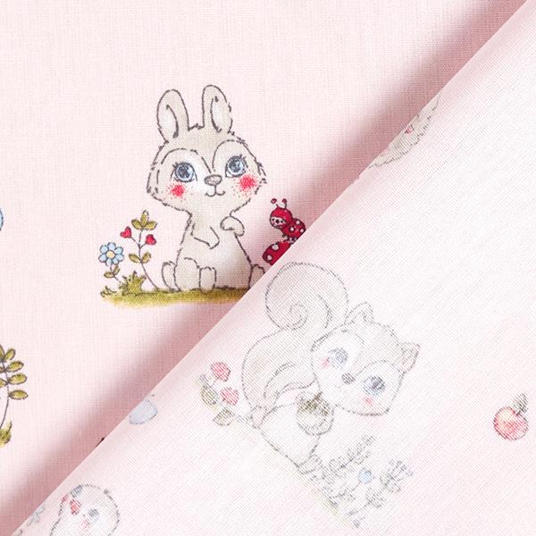 Popeline coton Bébés animaux de la forêt – rosé