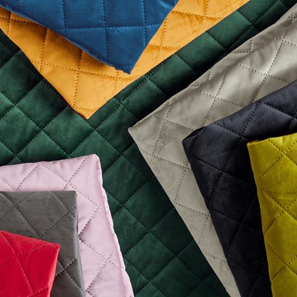 Tissu de décoration et d'ameublement Velours Tissu matelassé – noir