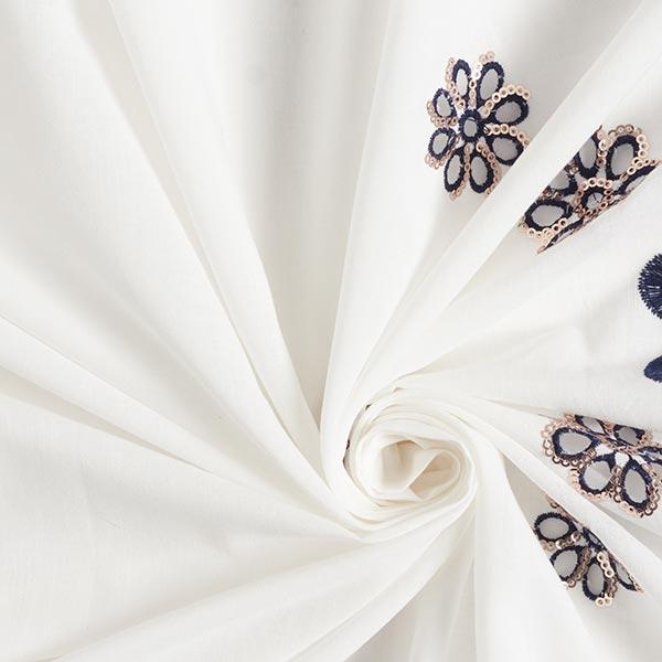 Tissu pour bordure en broderie à trous Fleurs en paillettes – écru