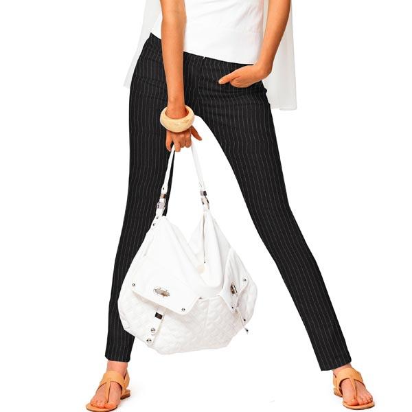 Stretch pantalon Rayures fines Largeur moyenne – noir