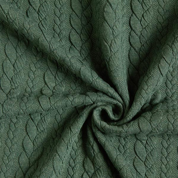 Jersey jacquard Cloqué Torsades – vert foncé