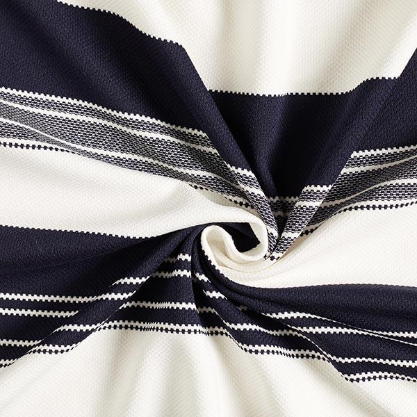Jersey jacquard Marine Rayures – bleu marine/écru