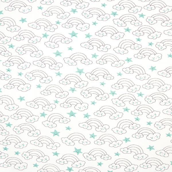 Jersey coton Magic UV Nuages & Arc-en-ciel