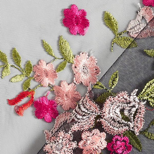 Dentelle de tulle Broderie florale romantique – noir/rose