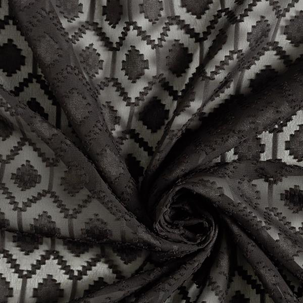 Chiffon Dobby Motif losanges – noir