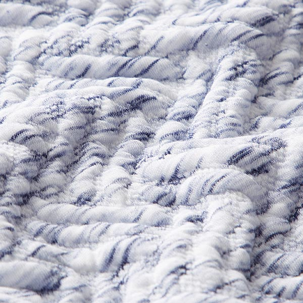 Jersey Jacquard Cloqué Chiné – blanc/bleu jean