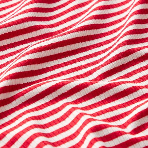 Maille côtelée Mélange viscose Rayures milleraies étroites – rouge/blanc