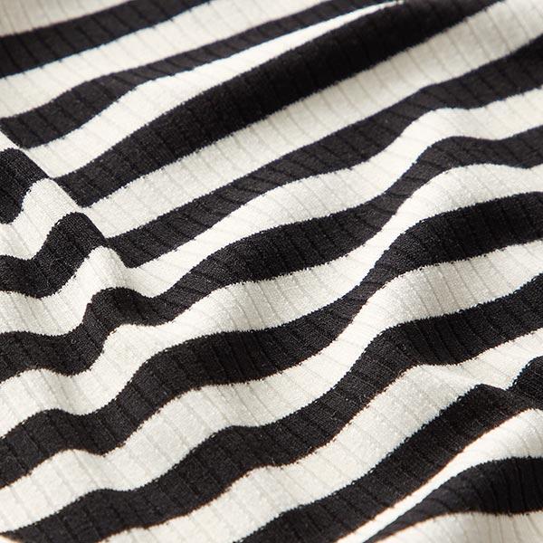 Maille côtelée Mélange viscose Rayures milleraies larges – noir/blanc