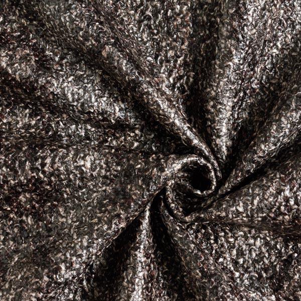 Tissu pour manteau grossier Imprimé métallisé Serpent des prés – chocolat