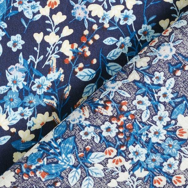 Tissu en coton Popeline Petits bouquets de fleurs look vintage – bleu marine/bleu clair