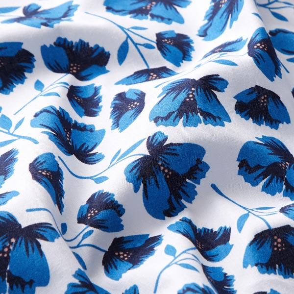 Tissu en coton Popeline Fleurs coupées peintes – blanc