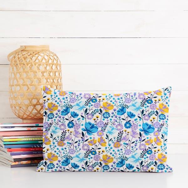 Tissu en coton Popeline Fleurs rétro – blanc/bleu
