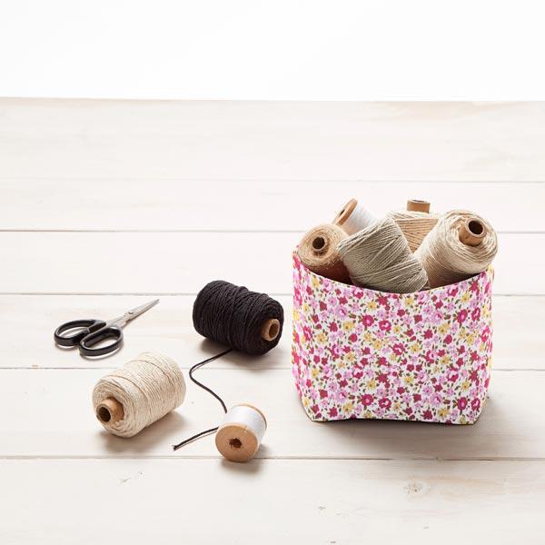 Tissu en coton Popeline Mille-fleurs – écru/rose