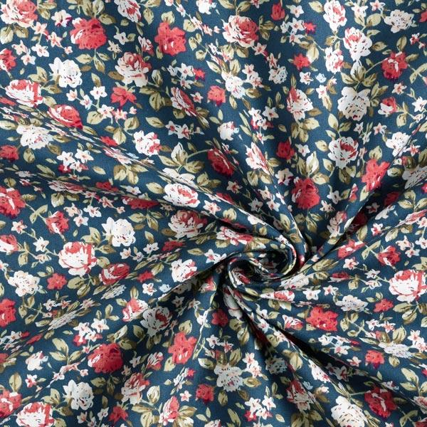 Tissu en coton Popeline Haie de roses – bleu marine