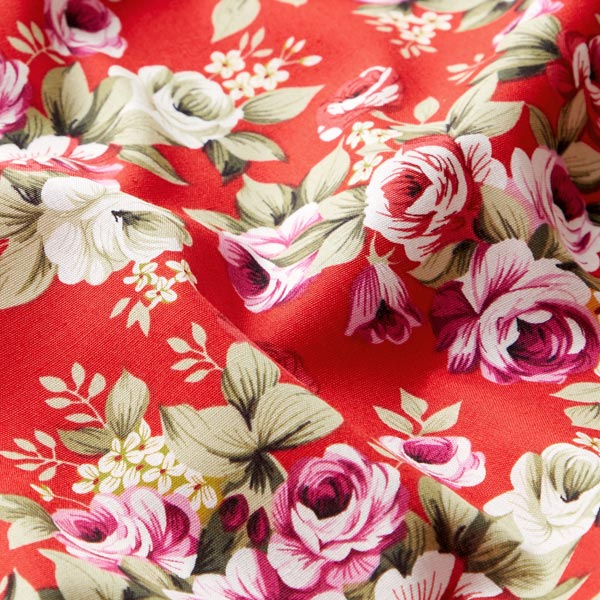 Tissu en coton Popeline Fleurs baroques – rouge
