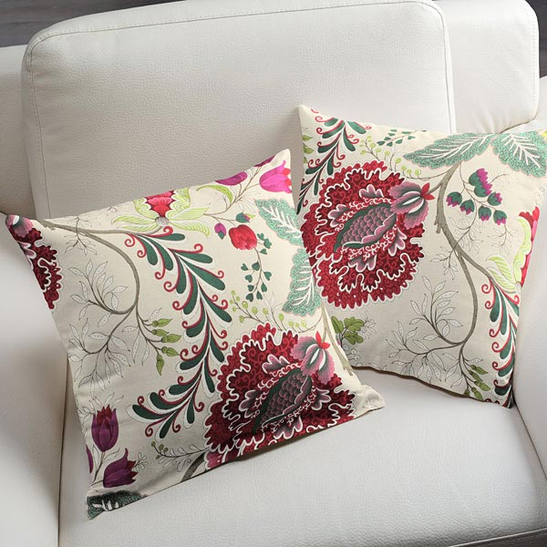Tissu de décoration et d'ameublement Rinceaux de fleurs – rouge