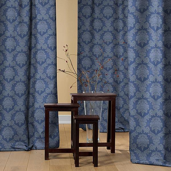 Dekostoff Jacquard Damasco 280 cm – königsblau