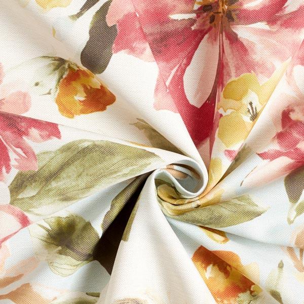 Tissu de décoration Pivoines – rouge/jaune ocre