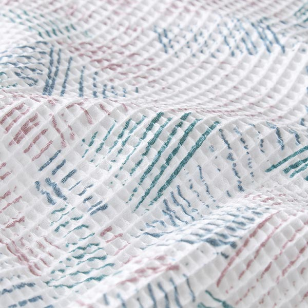 Nid d'abeille tissu en coton traits – blanc/vieux rose