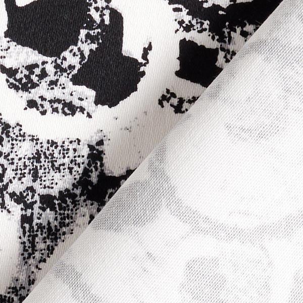 Satin de coton stretch Cercles abstraits – noir/blanc
