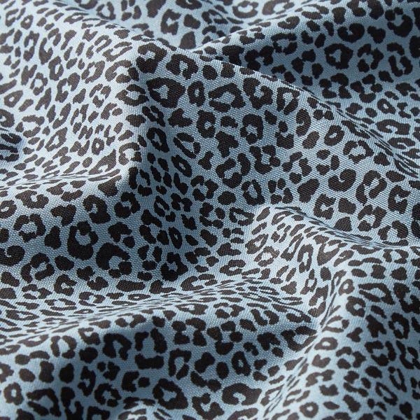 Popeline de coton petits léopards – bleu pigeon