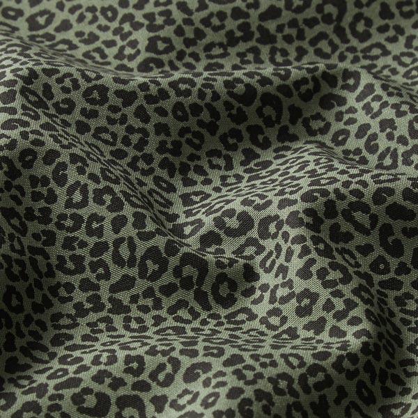 Popeline de coton petits léopards – olive