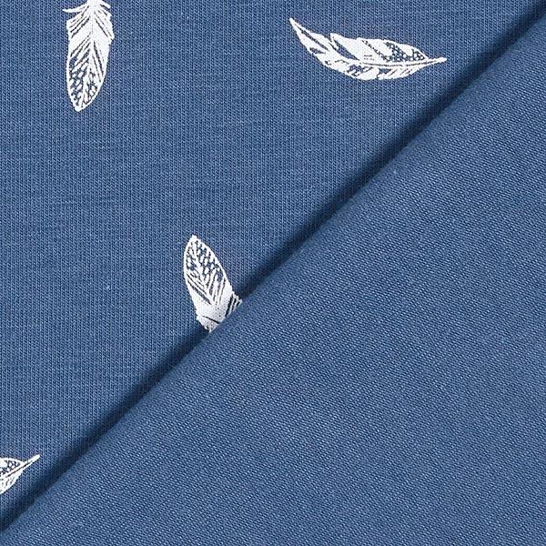 Baumwolljersey Federn – jeansblau