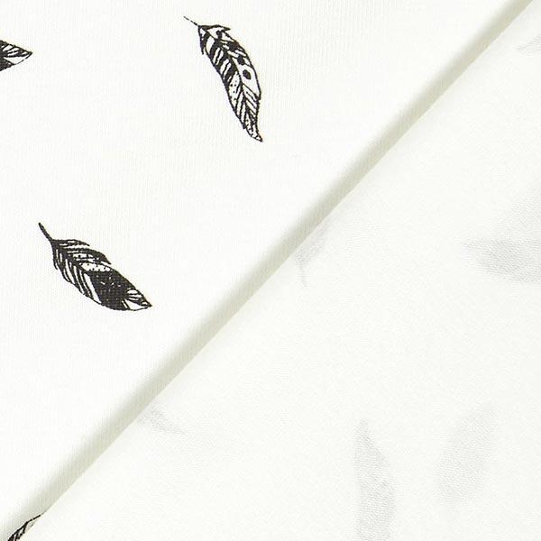 Baumwolljersey Federn – wollweiss