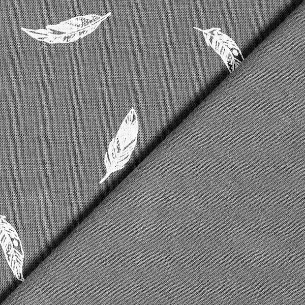 Jersey coton Plumes – gris foncé